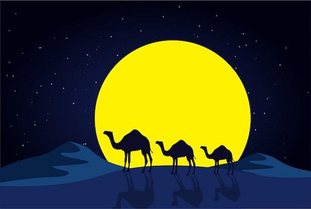 Camelos na noite no deserto Vetor Premium
