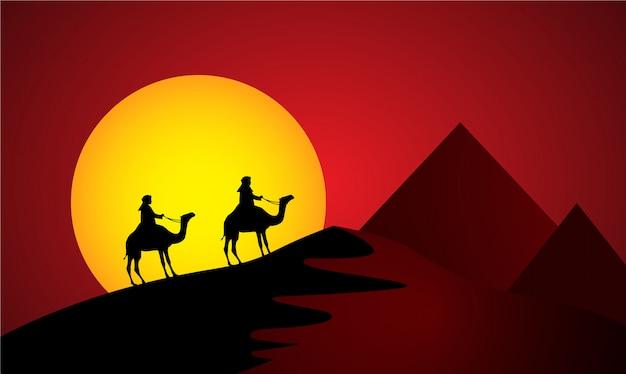 Camelos no deserto do sol Vetor Premium