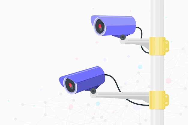 Câmera cctv. video vigilância Vetor Premium