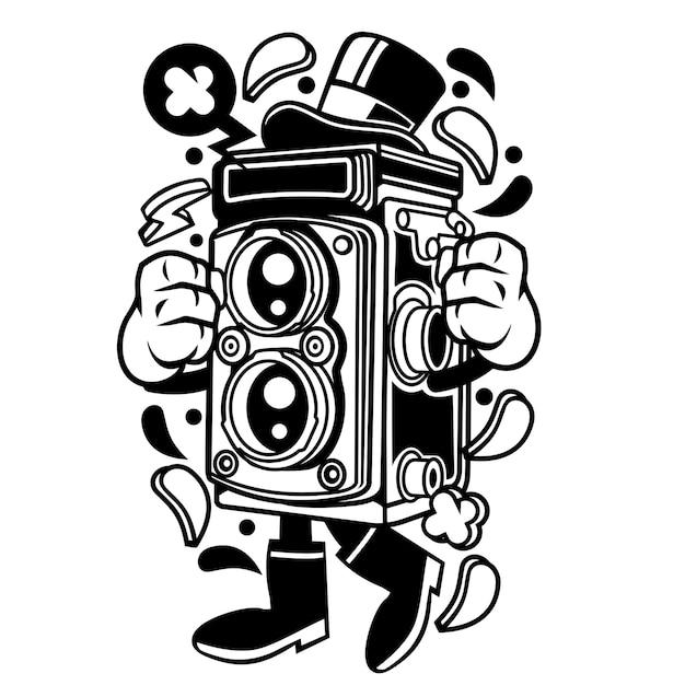 Câmera da velha escola Vetor Premium