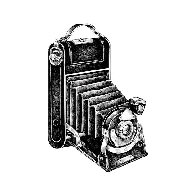 Câmera de filme retrô desenhada de mão Vetor grátis