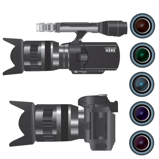 Câmera de gravação de vídeo com lente Vetor grátis