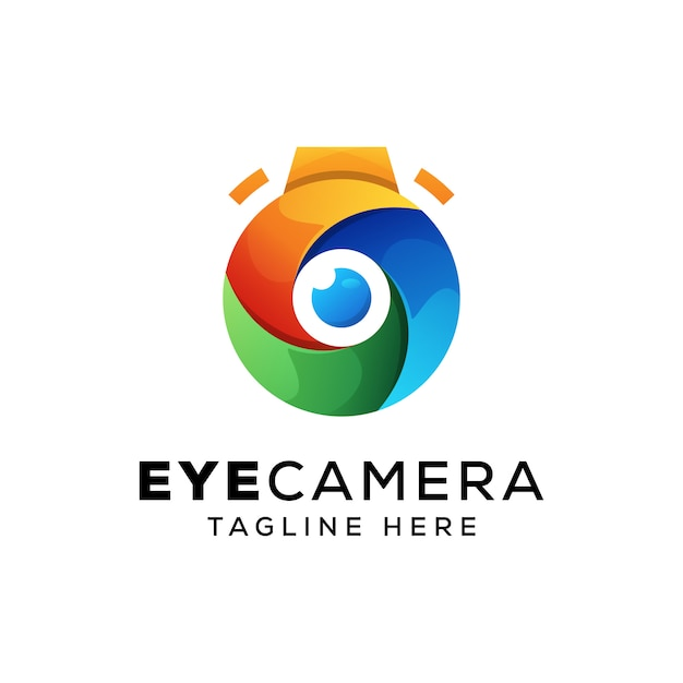 Câmera de olho colorido, modelo de logotipo de fotografia Vetor Premium