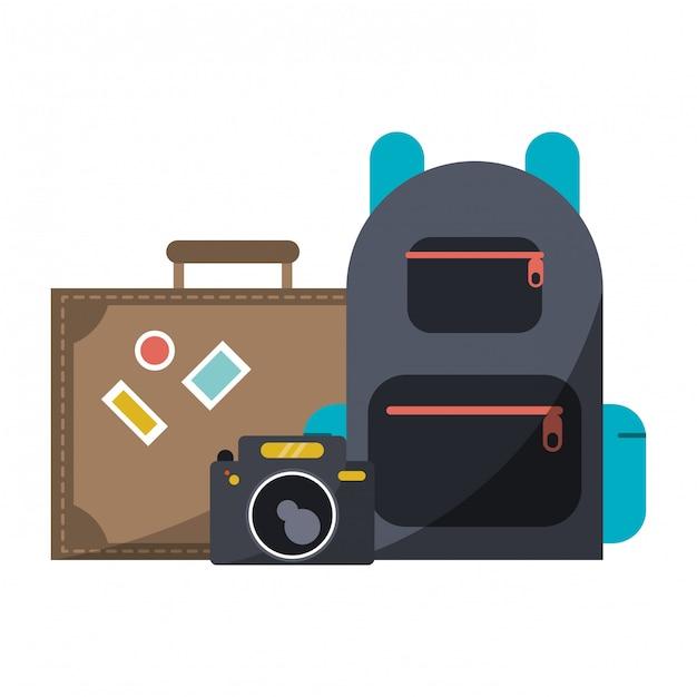 Câmera de viagem mala e mochila Vetor Premium