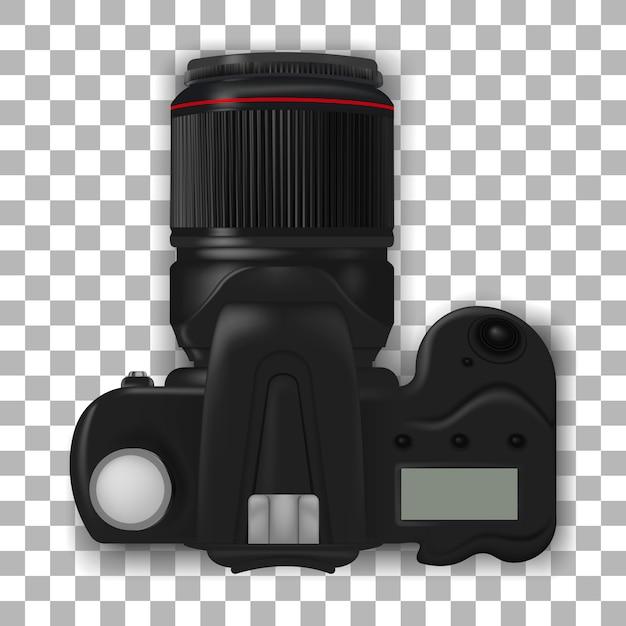Câmera dslr profissional. câmera fotográfica realista. Vetor Premium