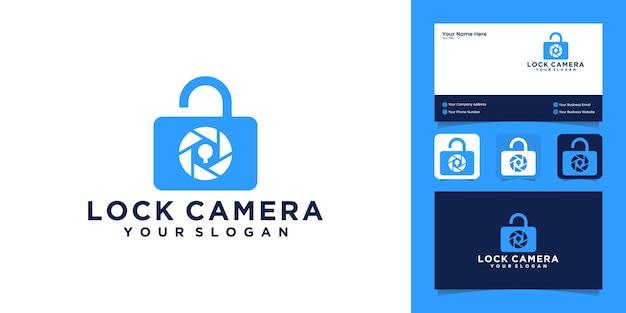 Câmera e combinação de cadeado com logotipo e cartão de visita Vetor Premium