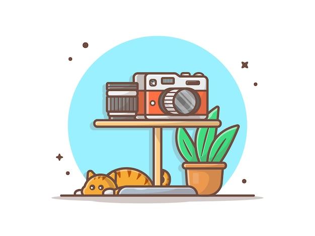 Câmera e lente na mesa vector icon ilustração Vetor Premium
