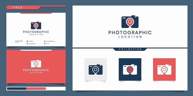 Câmera elegante e alfinete, fotografia, design de logotipo de localização Vetor Premium