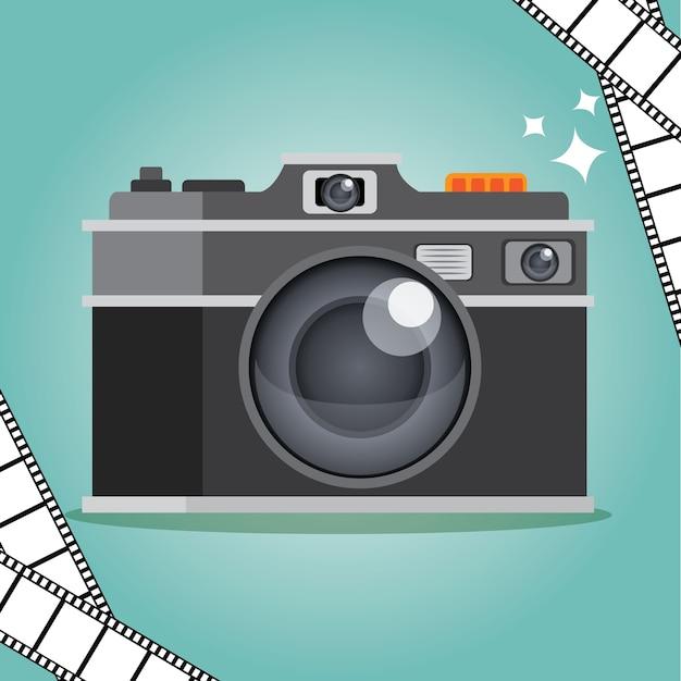 Câmera em fundo de hortelã Vetor Premium