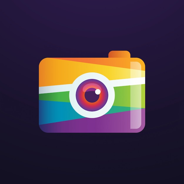 Camera photography logo Vetor Premium