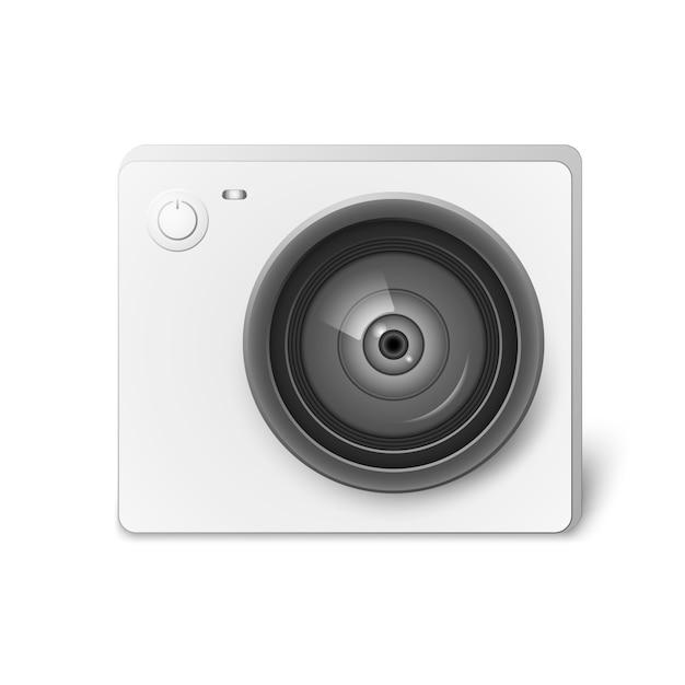 Cameral de vídeo de ação branco compacto. foto, equipamentos de câmera de vídeo para filmar esportes radicais. ilustração vetorial realista isolado Vetor Premium