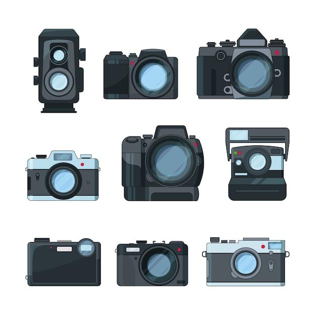 Câmeras fotográficas dslr. Vetor Premium