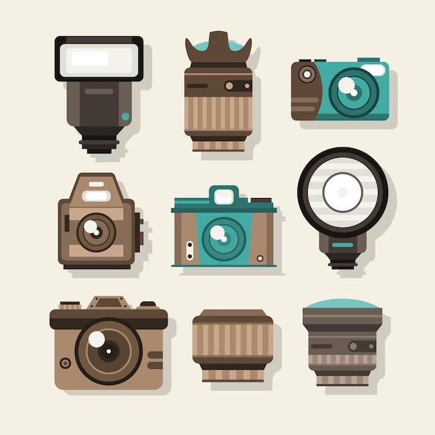 C meras retros no design plano baixar vetores gr tis for Camera blueprint maker gratuito