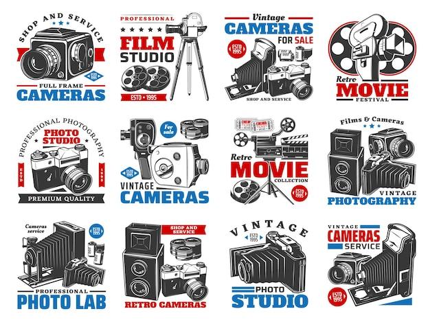 Câmeras vintage para design de ilustração de fotos e vídeos Vetor Premium