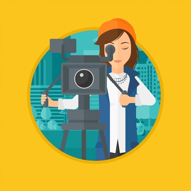 Camerawoman com a câmera de filme no tripé. Vetor Premium