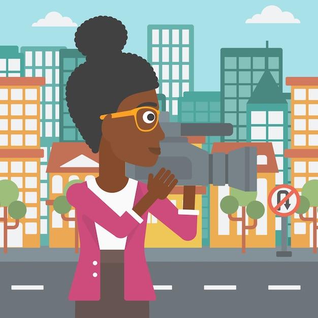 Camerawoman com câmera de vídeo. Vetor Premium