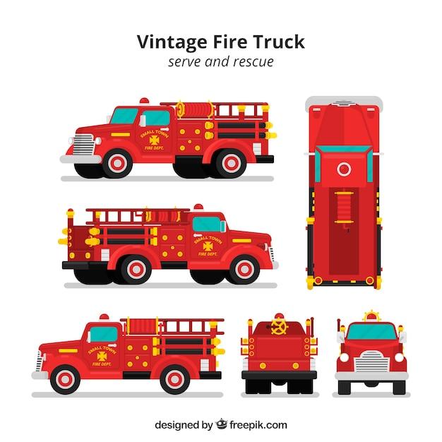 Camião de bombeiros de diferentes visualizações Vetor grátis