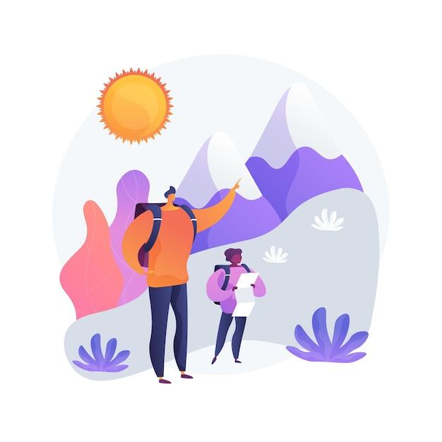 Caminhada de verão. caminhadas nas montanhas, atividades ao ar livre, férias em família. pai e filho, caminhantes com mapa explorando o ambiente natural. Vetor grátis