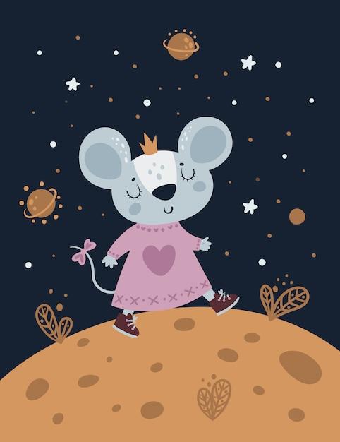 Caminhada do bebê do rato dos ratos no planeta do queijo do espaço. Vetor Premium