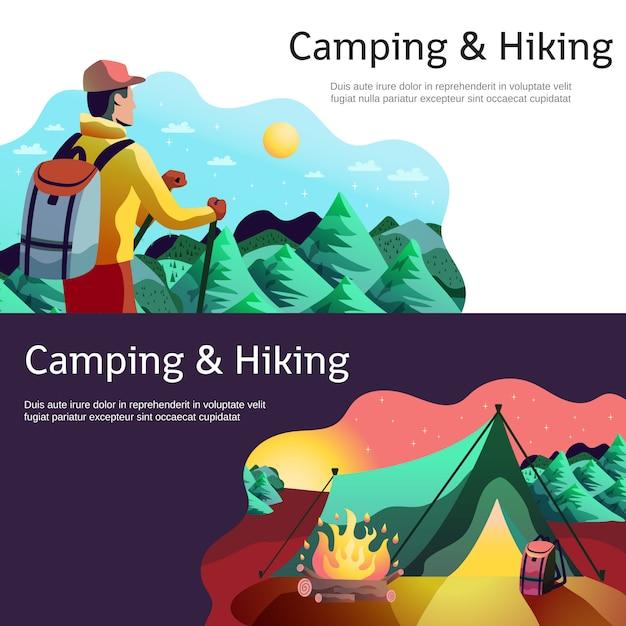 Caminhadas camping banners horizontais Vetor grátis