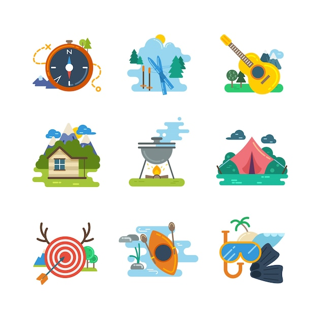 Caminhadas, coleção de ícones planas de acampamento. caiaque e mergulho, esqui e caça, ilustração vetorial Vetor grátis