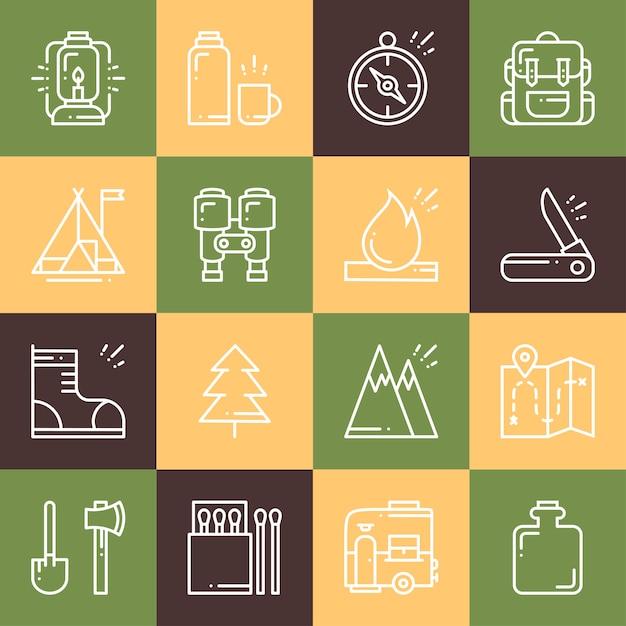 Caminhadas e acampamentos conjunto de ícones. Vetor Premium