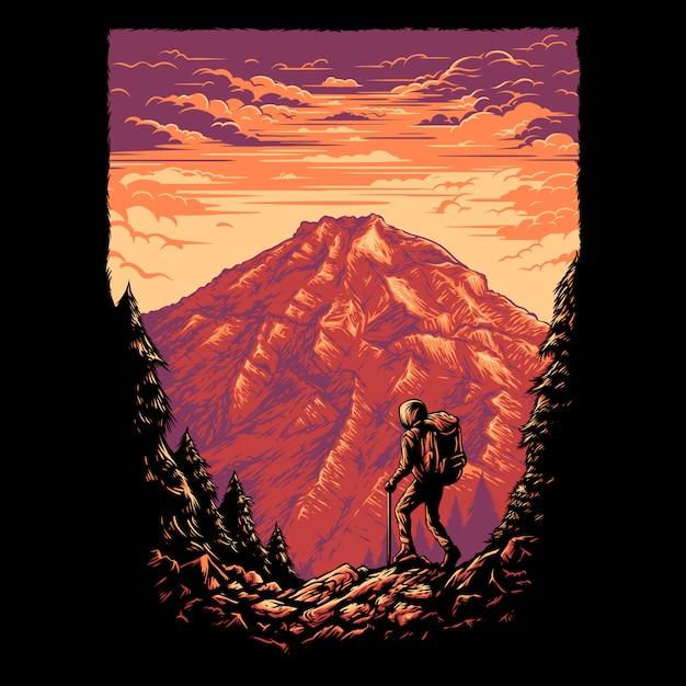 Caminhadas ilustração de montanha Vetor Premium