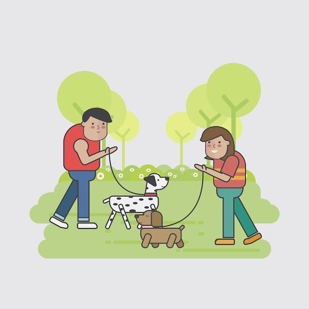 Caminhantes do cão que encontram-se no parque Vetor grátis