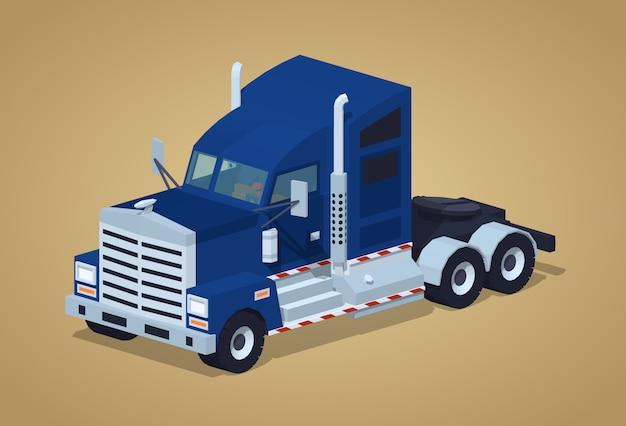 Caminhão americano pesado azul-escuro Vetor Premium