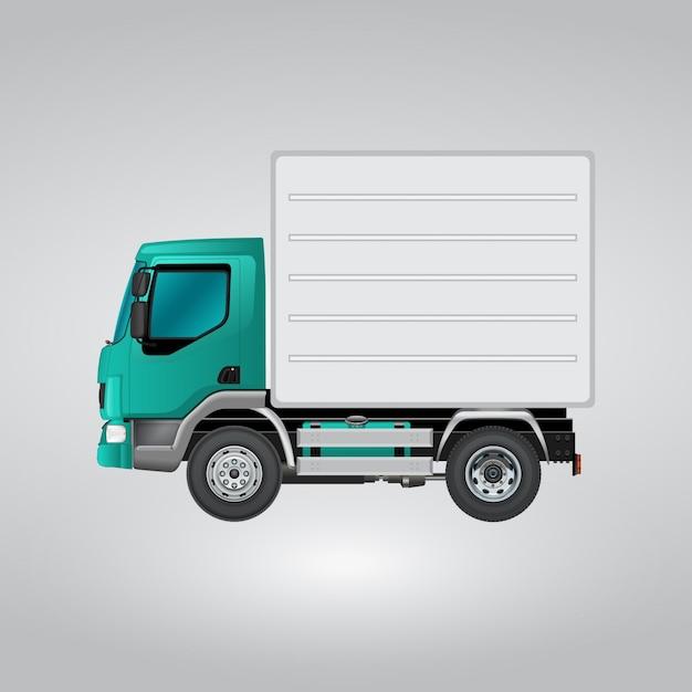 Caminhão azul e branco Vetor grátis