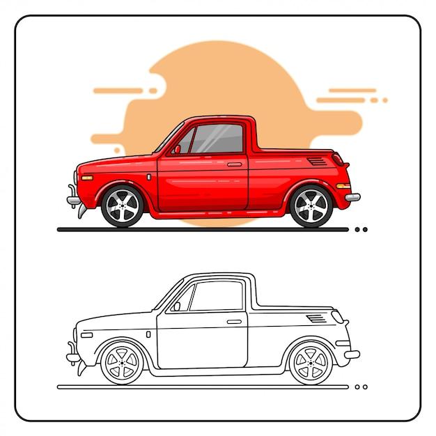 Caminhão bonito fácil editável Vetor Premium