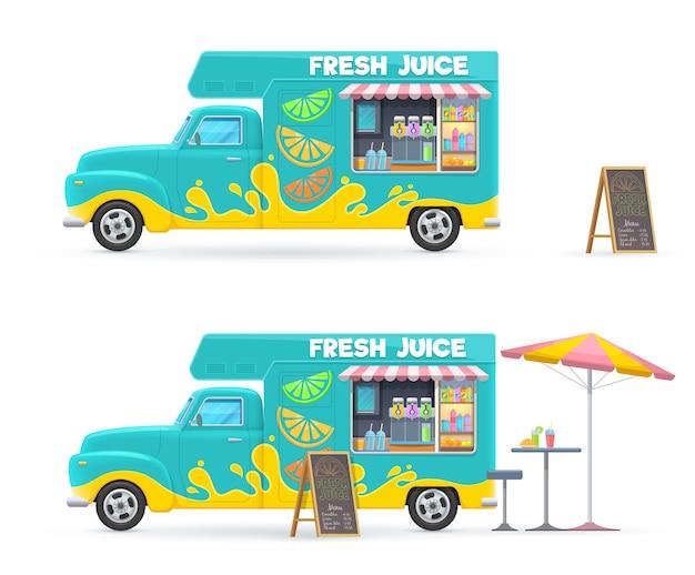 Caminhão de alimentos de suco fresco isolado van retro com bebidas geladas, menu de lousa de guarda-sol e mesa com cadeira. Vetor Premium