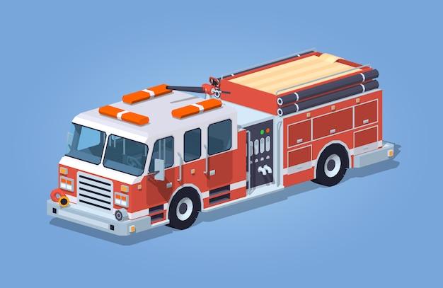 Caminhão de bombeiros baixo poli Vetor Premium