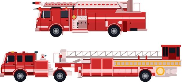 Caminhão de bombeiros em vetor plana Vetor Premium