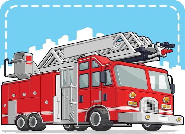 Caminhão de bombeiros vermelho ou carro de bombeiros Vetor Premium