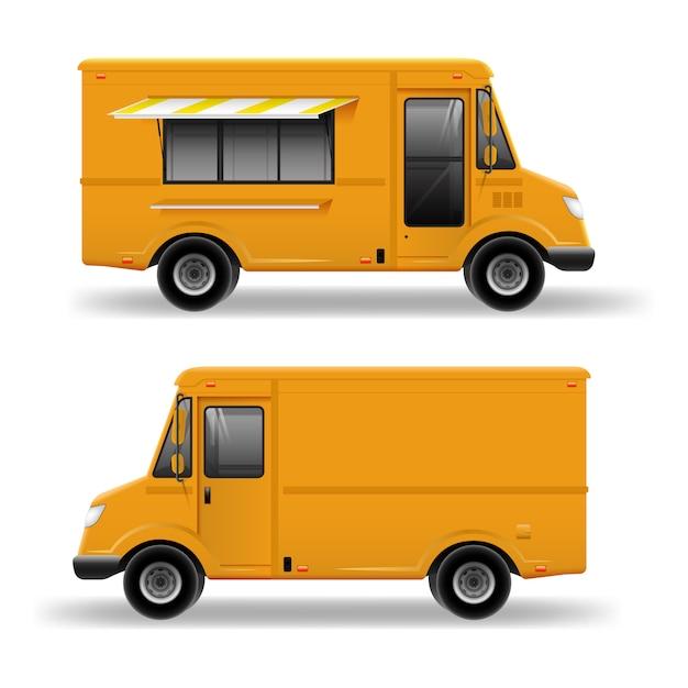 Caminhão de comida amarela modelo detalhado para mock up brand identity. van de serviço de entrega realista isolado no fundo branco Vetor Premium