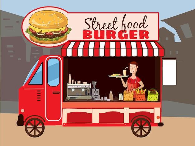 Caminhão de comida colorida vector caminhão de fast food. cozinha de rua Vetor Premium