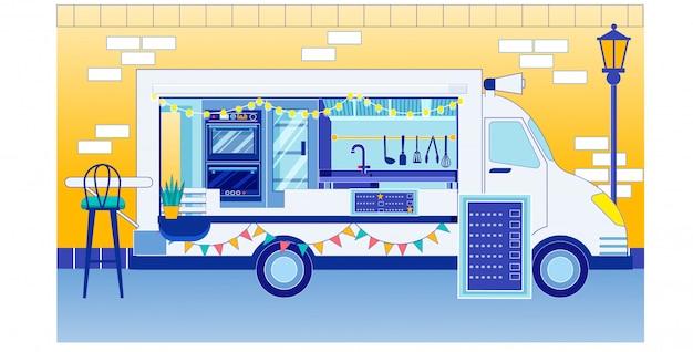 Caminhão de comida com sinal de menu na feira do festival de comida Vetor Premium