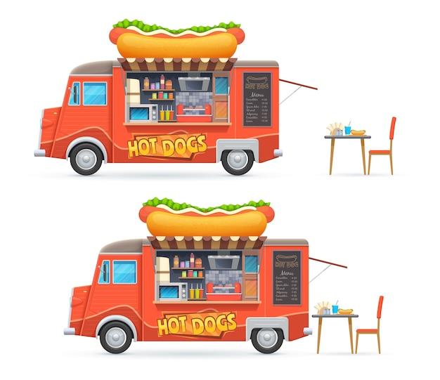 Caminhão de comida de cachorro-quente isolado van de catering com menu de quadro-negro e equipamento para cozinhar cachorros-quentes. Vetor Premium