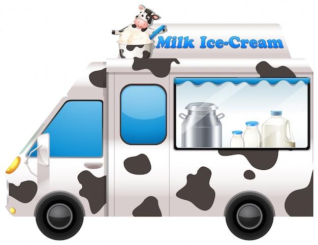 Caminhão de comida vendendo sorvete de leite Vetor grátis