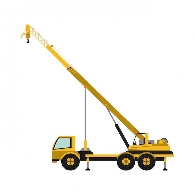 Caminhão de construção com guindaste Vetor Premium