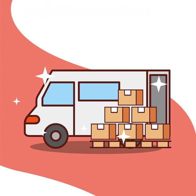 Caminhão de entrega com transporte de serviço de caixas de madeira Vetor Premium