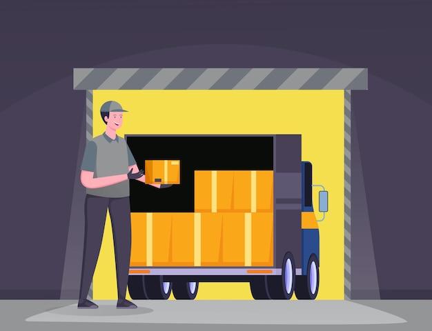 Caminhão de entrega no conceito de ilustração de armazém, frete grátis, serviço de entrega online Vetor Premium