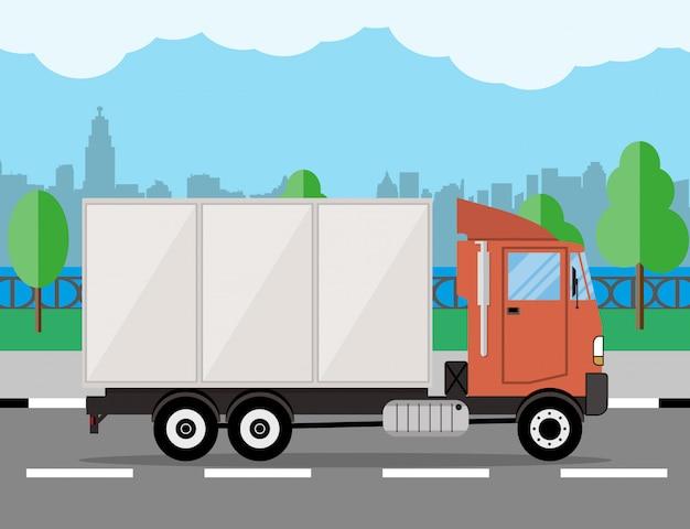 Caminhão de entrega pequeno. Vetor Premium
