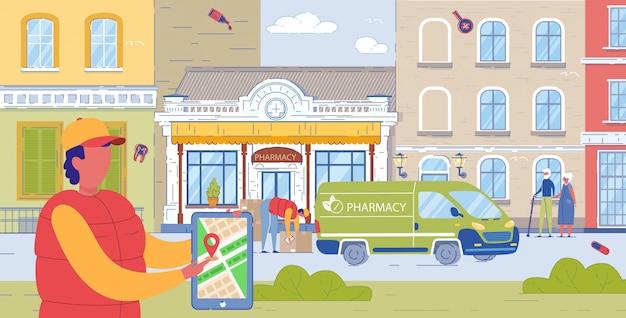Caminhão de farmácia local que entrega pedidos aos clientes. Vetor Premium