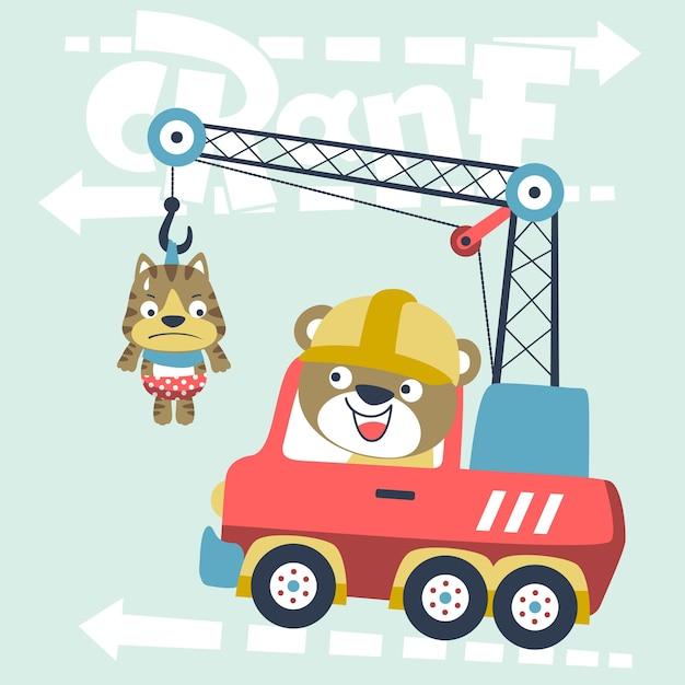 Caminhão de guindaste com animais bonitos Vetor Premium