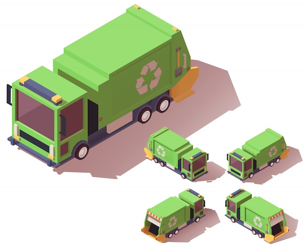 Caminhão de lixo isométrico Vetor Premium