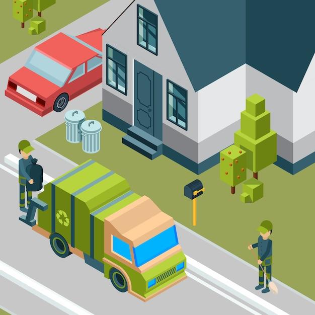 Caminhão de lixo. serviço de limpeza removendo lixo da cidade de reciclagem de lixo de rua isométrico Vetor Premium