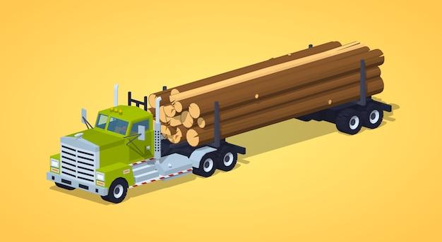 Caminhão de log baixo poli Vetor Premium