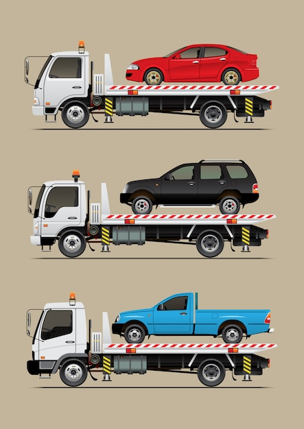 Caminhão de reboque com carro Vetor Premium